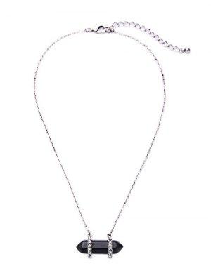 Stone Rhinestone Pendant Necklace - Black