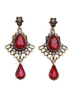 Rhinestone Faux Ruby Earrings - Red