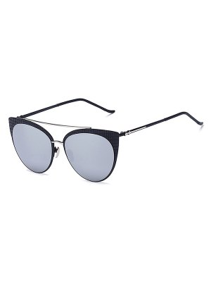 Plaid Black Mirrored Cat Eye Sunglasses - Silver
