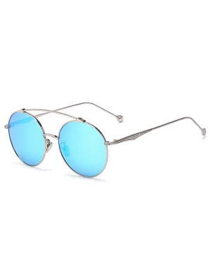 Brow-Bar Silver Round Sunglasses - Ice Blue