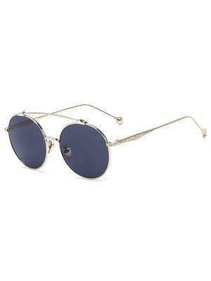 Brow-Bar Golden Round Sunglasses - Black
