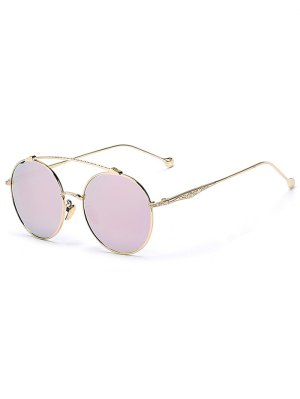 Brow-Bar Golden Round Sunglasses - Pink