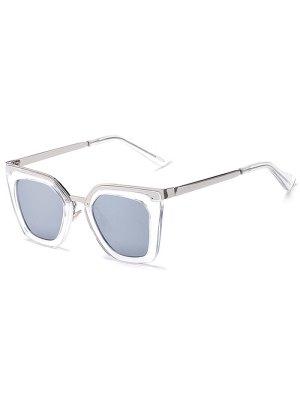 Transparent Irregular Mirrored Sunglasses - Silver