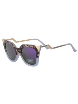 Leopard Triangle Cat Eye Mirrored Sunglasses - Gray