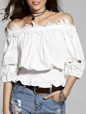 Lace Splice Off The Shoulder 3/4 Sleeve Blouse - White