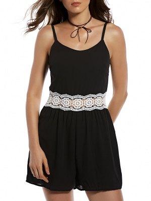 Zippered Lace Spliced Cami Romper - Black