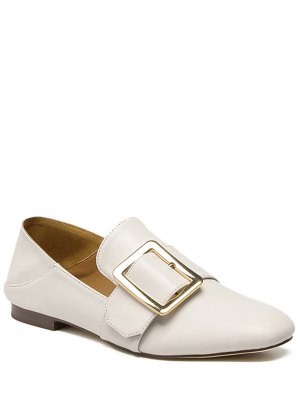 Square Toe Buckle Solid Color Flat Shoes - Off-white