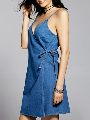 Blue Cami A Line Denim Dress - Blue