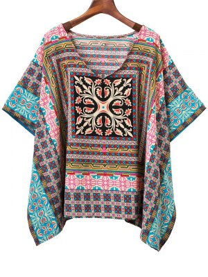 Batwing Sleeve V-Neck Printed Blouse