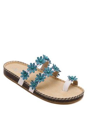 Flat Heel Flower Toe Ring Slippers - Blue