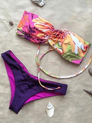 Shirred Bandeau Bikini Set - Purple