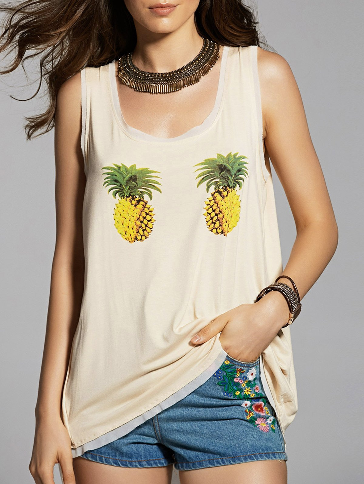 High Low Chiffon Spliced Round Neck Tank Top 184931303