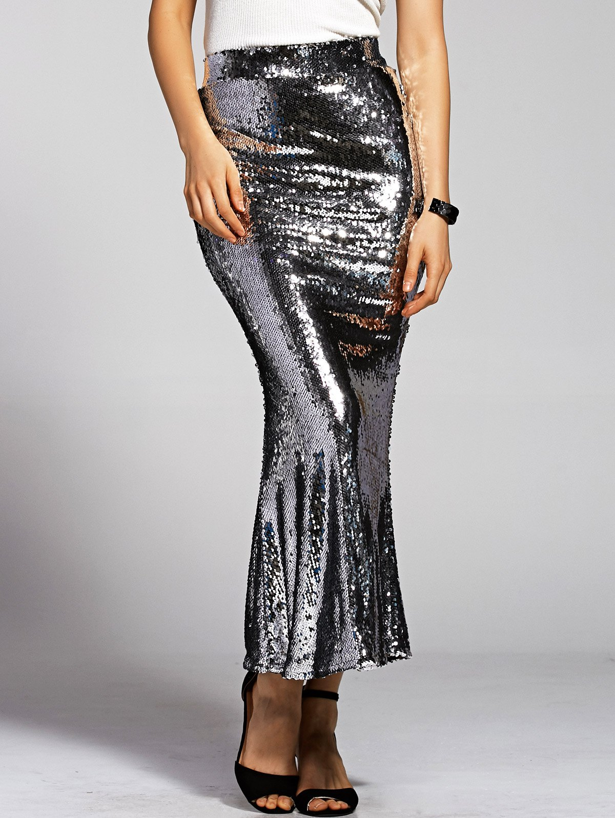 High Waist Silver Sequined Mermaid Skirt