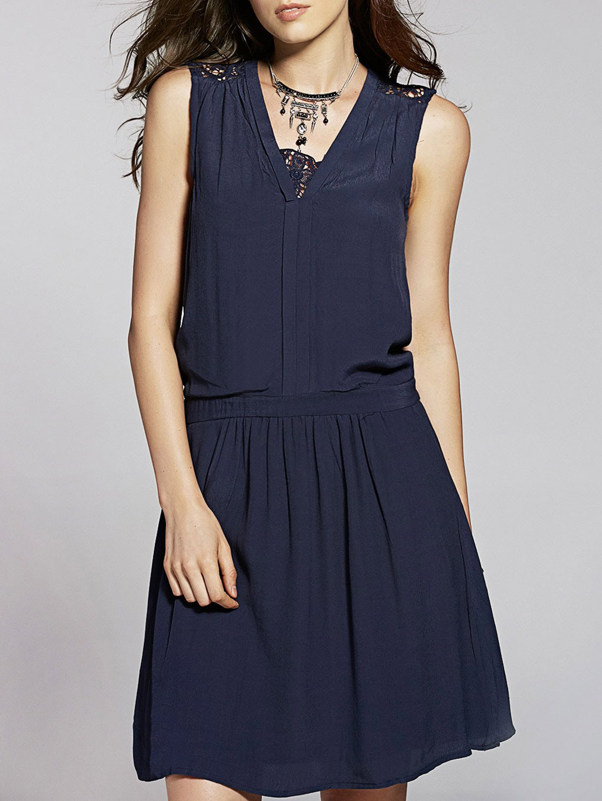 V-Neck Lace Spliced Sleeveless Dress