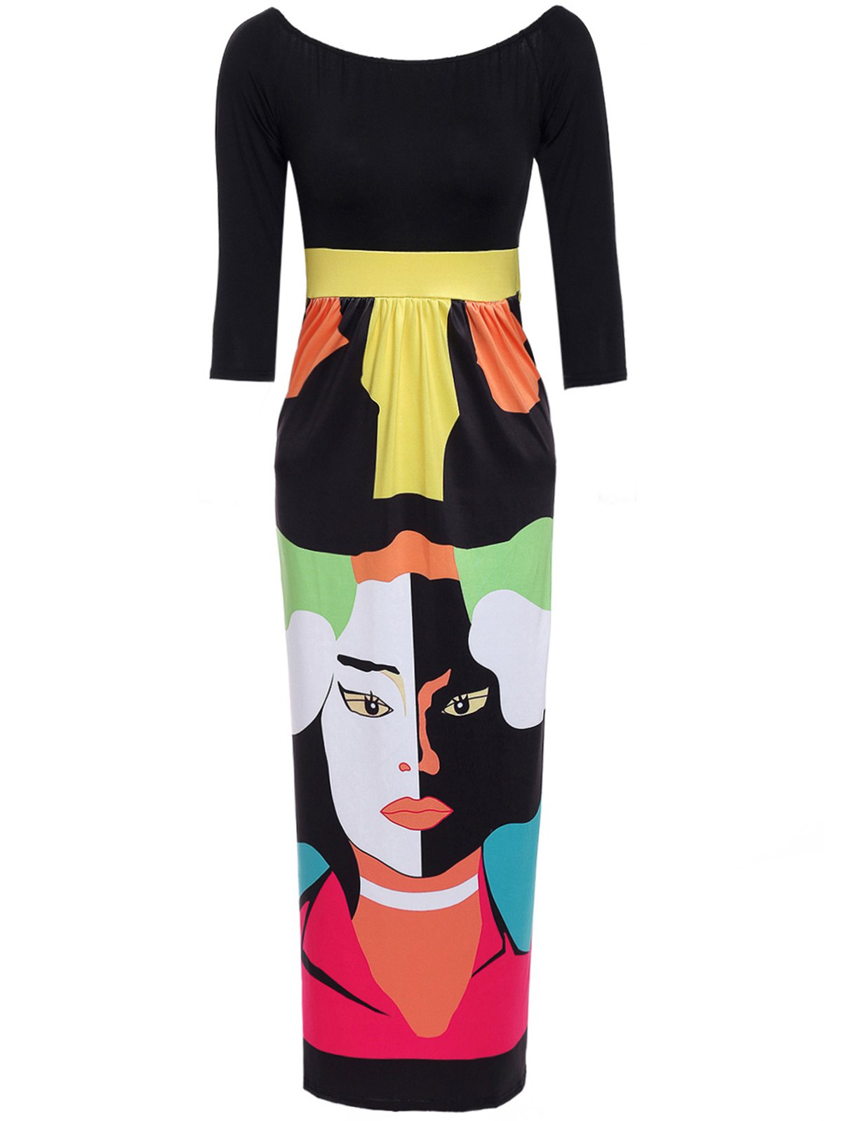 Abstract Figure Print Off The Shoulder Maxi Dress