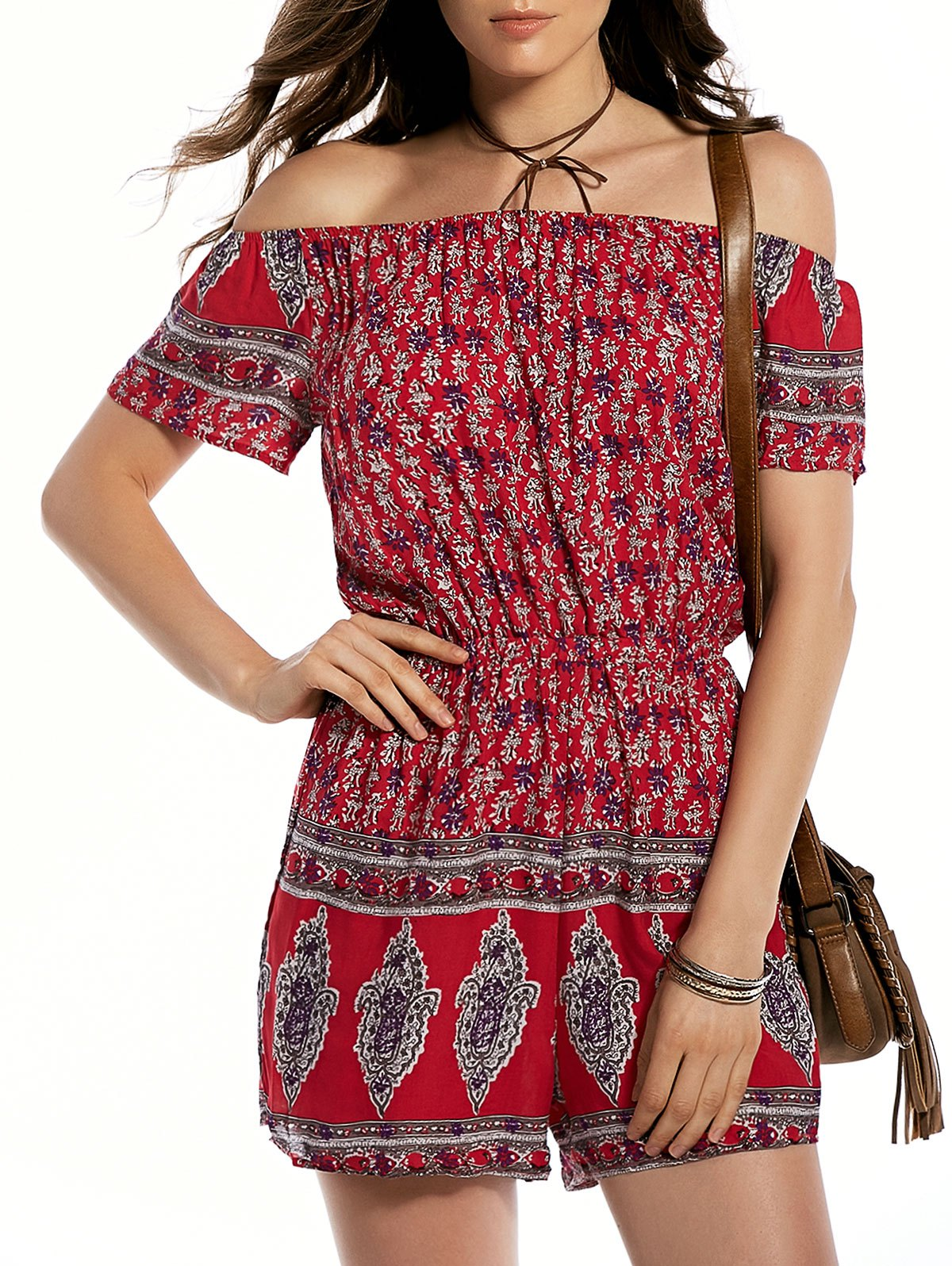 Off The Shoulder Ethnic Print Playsuit