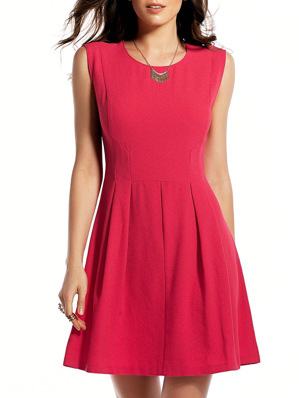 Rose Red Round Neck Sundress 184864401