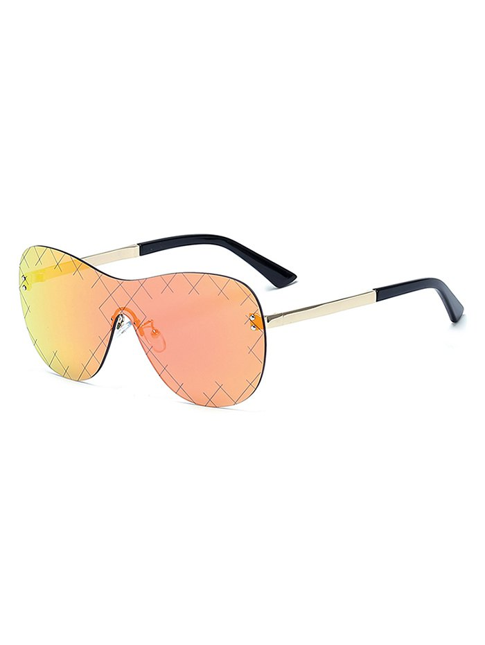 Plaid Mesh Mirrored Shield Sunglasses For Women