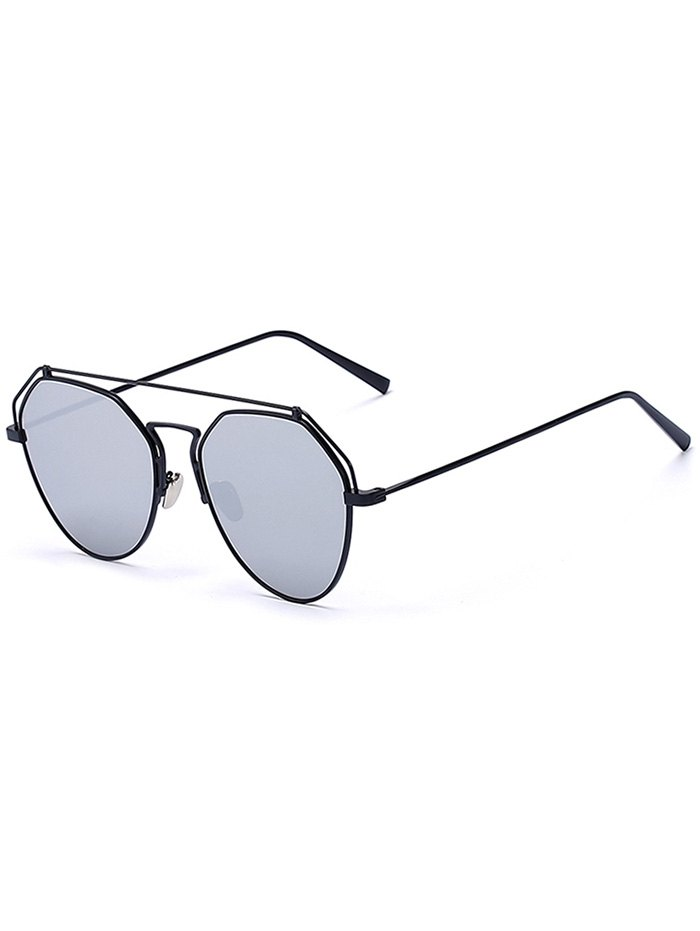 Black Brow-Bar Mirrored Pilot Sunglasses For Women