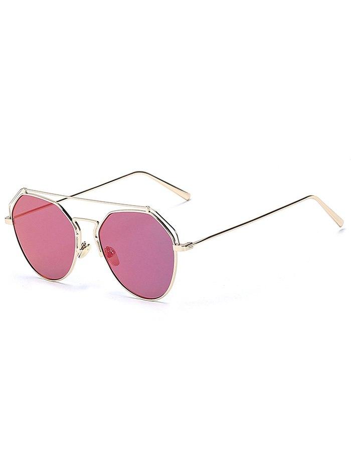 Golden Brow-Bar Mirrored Pilot Sunglasses For Women