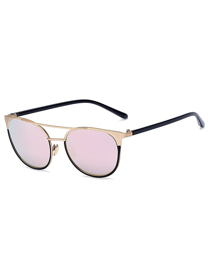Golden Crossbar Mirrored Cat Eye Sunglasses For Women