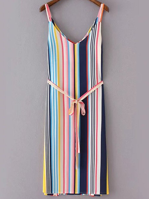 Colorful Stripes Spaghetti Straps Side Slit Belted Dress