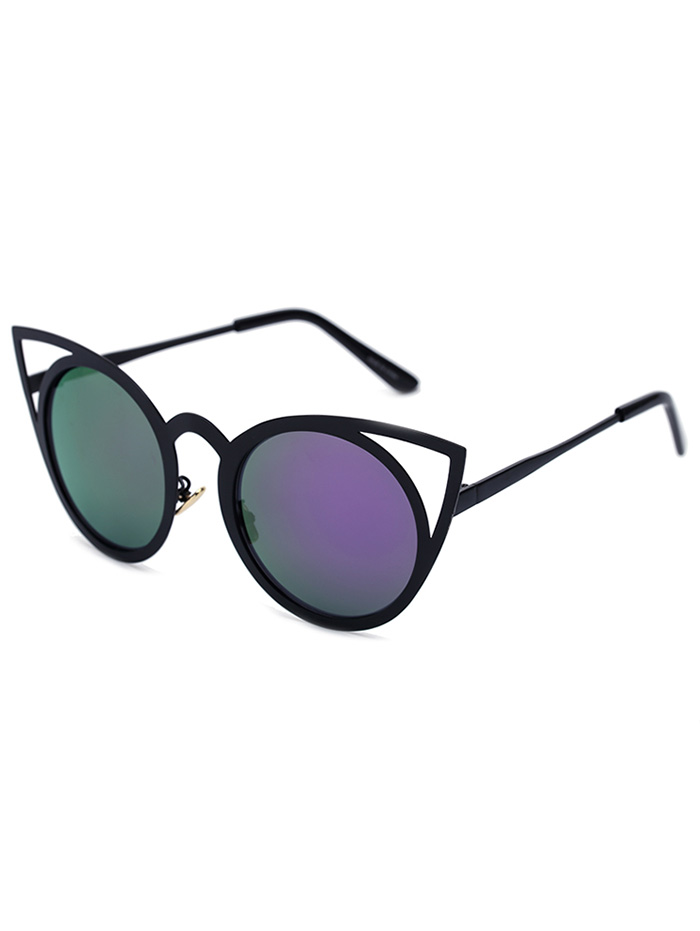 Black Charming Cat Eye Mirrored Sunglasses For Women