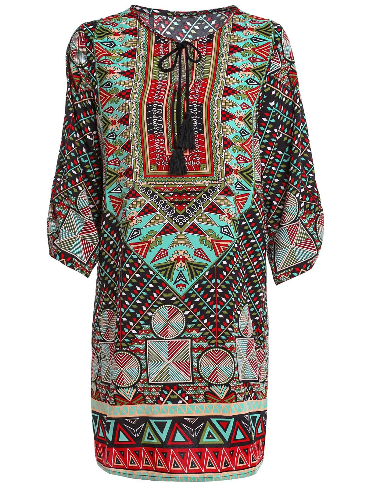 Jewel Neck Half Sleeve Ethnic Print Dress