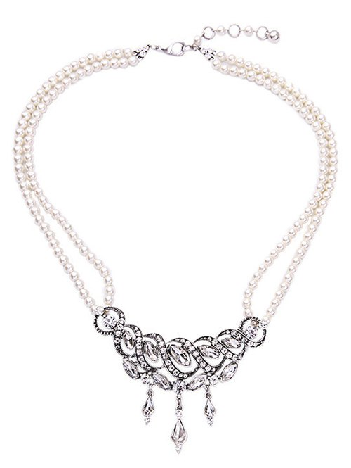 Spiral Faux Pearl Crystal Necklace