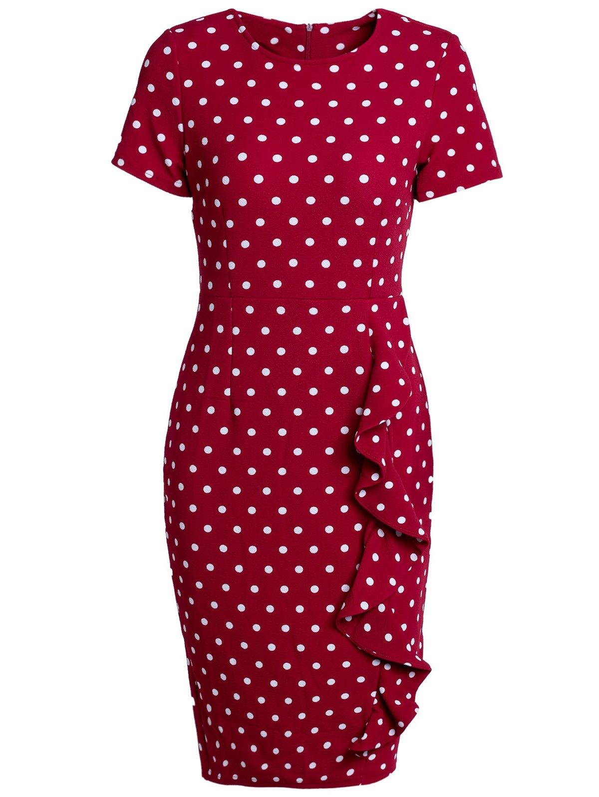 Short Sleeves Polka Dot Back Slit Pencil Dress