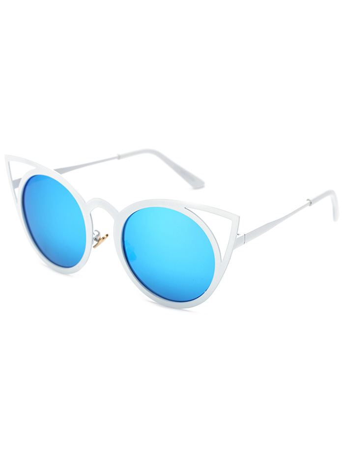 Cut Out White Cat Eye Mirrored Sunglasses For Women