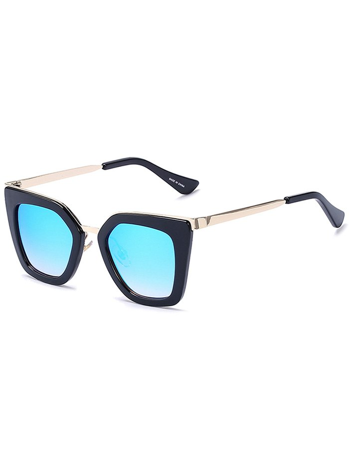 Matte Black Mirrored Irregular Sunglasses