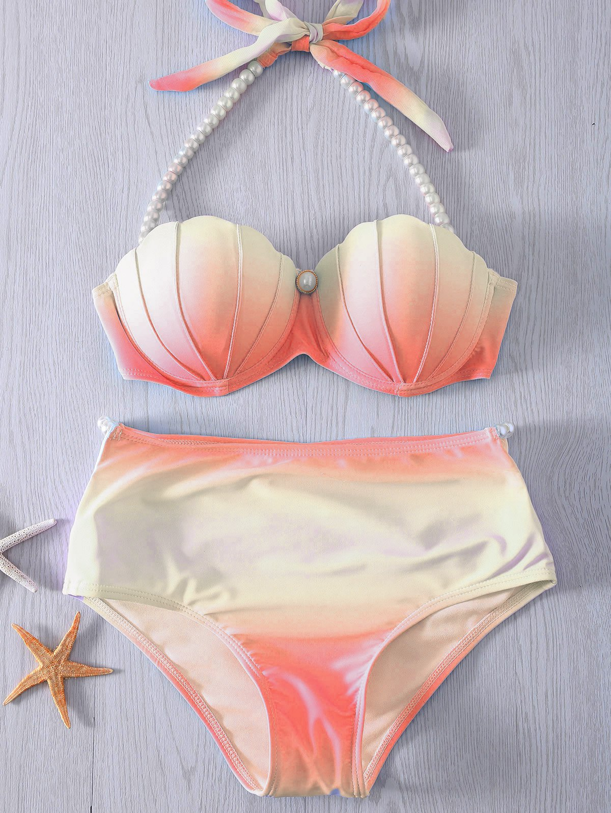 Halter Neck Tie Dye Pearl Embellished High Waist Bikini Set