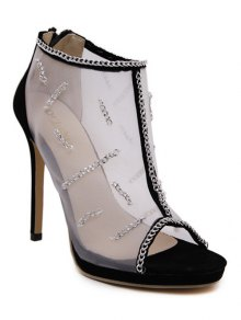 Gauze Chains Stiletto Heel Peep Toe Shoes