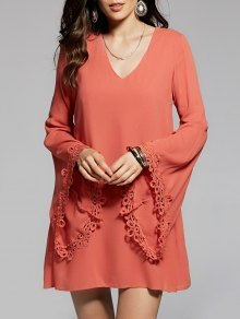 Flare Sleeve V-Neck Chiffon Dress