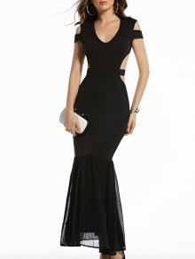 Cold Shoulder Plunging Neck Formal Maxi Dress