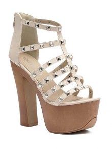 Buy Rivet Platform Chunky Heel Sandals 39 APRICOT
