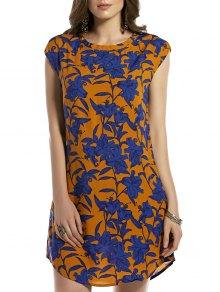 Retro Floral Print Round Neck Sleeveless Dress - Earthy