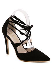 Pointed Toe Black Lace-Up Sandals - Black