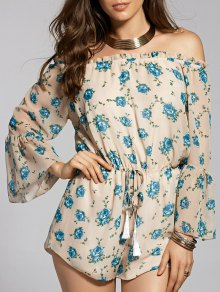 Printed Off The Shoulder Flare Sleeve Chiffon Playsuit - Apricot