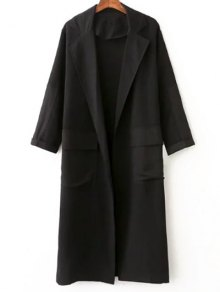 Side Slit Lapel Collar Solid Color Long Coat