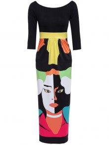 Abstract Figure Print Off The Shoulder Maxi Dress - Black Xl