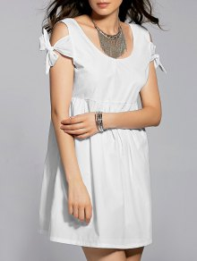 White Scoop Neck Self Tie Dress - White M