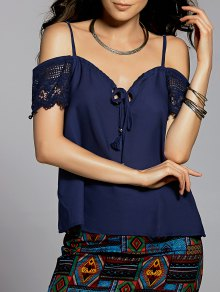 Lace Splice Cami Cold Shoulder Blouse