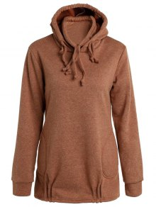 Solid Color Long Sleeve Loose Pullover Hoodie - Brown L