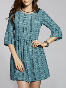 Drawstring Geometric Print Round Neck Flare Sleeve Dress