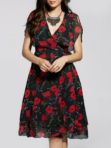Irregular Hem Flower Print V Neck Sleeveless Dress