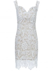 Off The Shoulder Lace Bodycon Dress - White