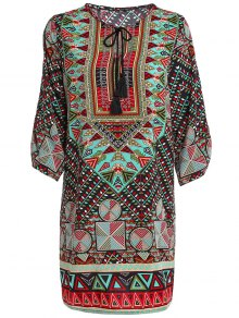 Ethnic Print Jewel Neck Half Sleeve Dress - Green M
