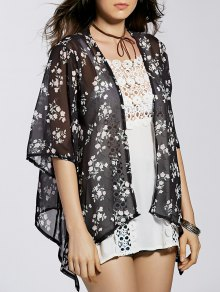 Flower Print 3/4 Sleeve Long Kimono Blouse - Black L